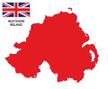 Northern ireland map with flag