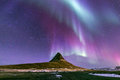 Northern light aurora iceland the borealis at kirkjufell Stock Image