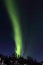 Northern light column above hagskaret hills the of lofoten islands Stock Photography