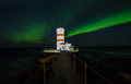 Northern Lights Above Lighthouse Royalty Free Stock Image