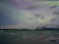 Northern lights in jokulsarlon iceland site for floating ice bergs Royalty Free Stock Image