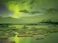 Northern lights in jokulsarlon iceland site for floating ice bergs Stock Image