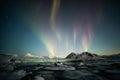 Northern Lights over the Arctic tidewater glacier - Spitsbergen, Svalbard
