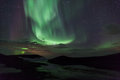 Northern lights over  craters in Iceland Stock Photos