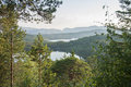 Northern norway west coast fjord view lined with trees Stock Photo