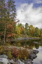 Northern River in Autumn - Algonquin Provincial Park Royalty Free Stock Photo