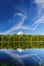 Northern river and woods beautiful coast in the wild karelian karjala Stock Photos