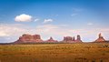 Northern view of monument valley from north from left to right saddleback king on his throne stagecoach bear and rabbit castle Royalty Free Stock Images