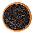 Northern wild rice in wooden bowl Royalty Free Stock Photo