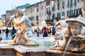 Northward view of the Piazza Navona with the fontana del Moro Royalty Free Stock Image
