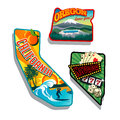 Northwest united states retro sticker illustrations california oregon and nevada state designs and their featured attractions Stock Image