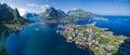 Norway aerial panorama scenic view of fishing town reine on lofoten islands Royalty Free Stock Image