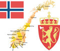 Norway with counties. Royalty Free Stock Photo