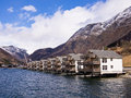 Norway fjord holiday scenic view of apartments in the cruise port of skjolden on the lustrafjord branch of the sognefjord Royalty Free Stock Photo