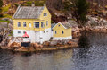Norway Fjord House Royalty Free Stock Photo