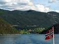 Norway fjords from a boat with flag Stock Image