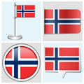 Norway flag set of sticker button label and fl various flagstaff Royalty Free Stock Images