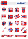 Norway Flag Vector Set Royalty Free Stock Photo