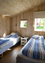 Norway hut inside accommodation for two in a wooden norwegian Stock Image