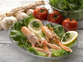 Norway lobster with salad Stock Photo