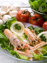 Norway lobster with salad Royalty Free Stock Photos