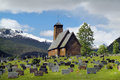 Norway luster june th cementary and wooden church in the village in sogn og fjordanje district Stock Image