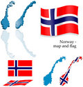 Norway - map and flag set Royalty Free Stock Photo