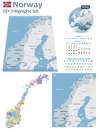 Norway maps with markers set of the political and symbols for infographic Stock Photography