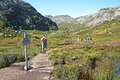 Norway Mountains Tourists Recreation Royalty Free Stock Photo