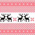 Norway pattern with reindeer cute norwegian knitted or background vector Stock Photo