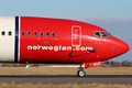 Norwegian air shuttle prague czech republic january boeing jp taxis to teminal at prg airport on january is Stock Photos
