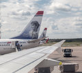 Norwegian airlines two airplanes of with the images of nobel prizes on its tails stockholm airport sweden Stock Photos