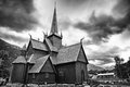Norwegian Church on a stormy day. Black and White Stock Image