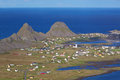 Norwegian coastal town typical sorland with colorful houses on island of vaeroy lofoten islands norway Stock Photo