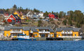 Norwegian fishing village with wooden houses on the sea coast Stock Photo