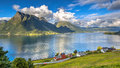 Norwegian fjord landscape on sunny day Royalty Free Stock Photo