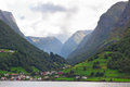 Norwegian fjord the village is on the shore of the Stock Photography