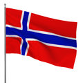 Norwegian flag d illustration on white background Stock Images