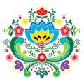 Norwegian folk art Bunad pattern - Rosemaling style embroidery Royalty Free Stock Photo