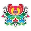 Norwegian folk art pattern - Rosemaling style embroidery Royalty Free Stock Photo