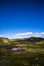 Norwegian high altitude house surrounded by desolation Royalty Free Stock Photography