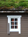 Norwegian house with grass on the roof Royalty Free Stock Photography