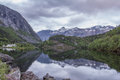 Norwegian mirror landscape with mountains Stock Photos