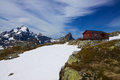 Norwegian mountain hut picturesque on lofoten islands in norway during summer Royalty Free Stock Photography