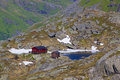 Norwegian mountain hut scenic on lofoten islands Stock Photo