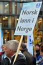 Norwegian seafarers union rally a member of the norsk sjømannsforbund during a against social dumping in the maritime Royalty Free Stock Photos