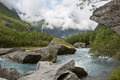 Norwegian wilds a riveren route to the brikdal glacier in norway Stock Photos