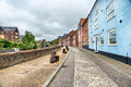 Norwich in norfolk pretty houses overlooking the riveryare at Royalty Free Stock Image