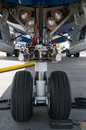 Nose wheel of airplane Royalty Free Stock Photo
