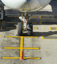 Nosewheel of a parked commercial airliner Royalty Free Stock Photo